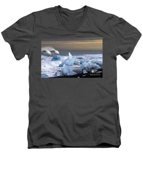 Men's V-Neck T-Shirt featuring the photograph Water Versus Ice by Gunnar Orn Arnason