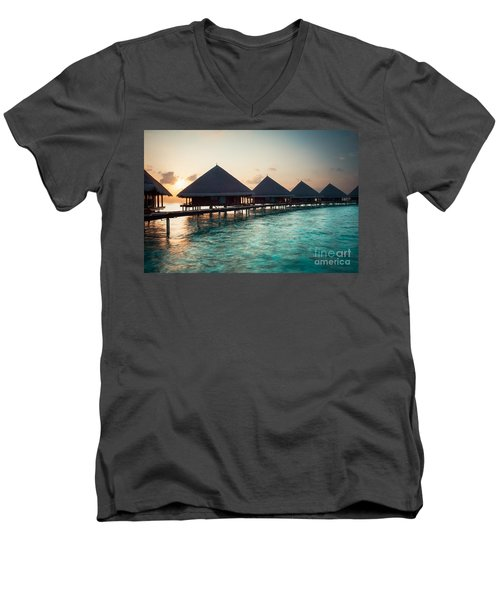 Waterbungalows At Sunset Men's V-Neck T-Shirt by Hannes Cmarits
