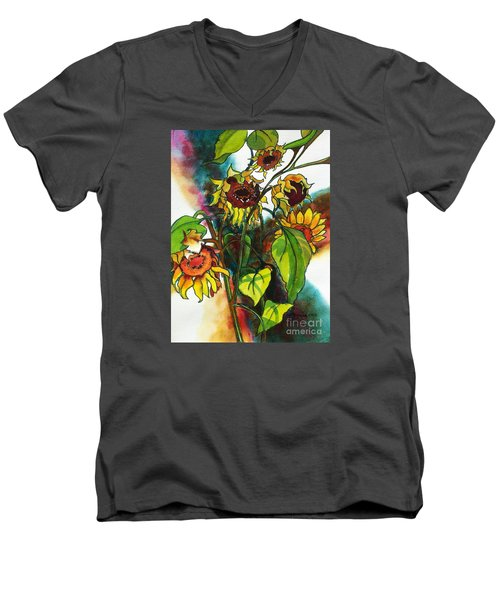 Sunflowers On The Rise Men's V-Neck T-Shirt by Kathy Braud
