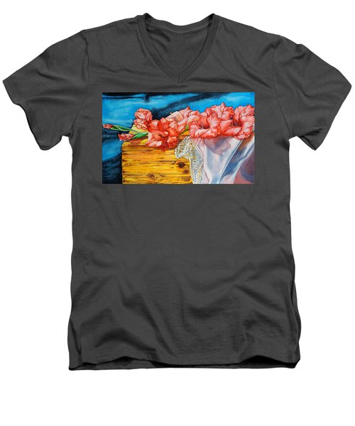 Watercolor Exercise Gladiolas Men's V-Neck T-Shirt
