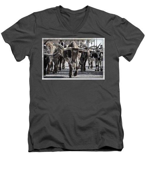 Watercolor Longhorns Men's V-Neck T-Shirt by Joan Carroll