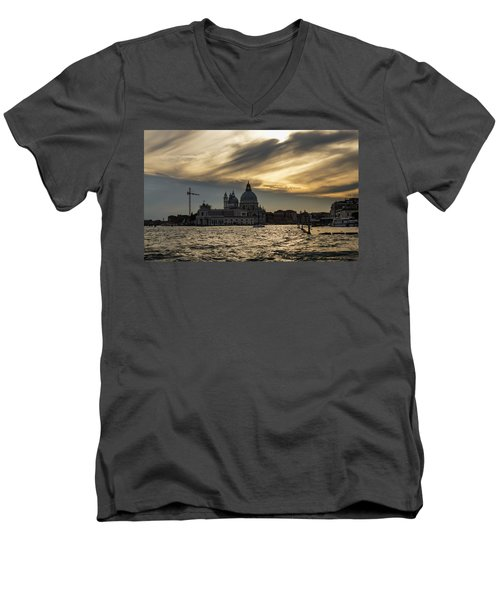 Men's V-Neck T-Shirt featuring the photograph Watercolor Sky Over Venice Italy by Georgia Mizuleva