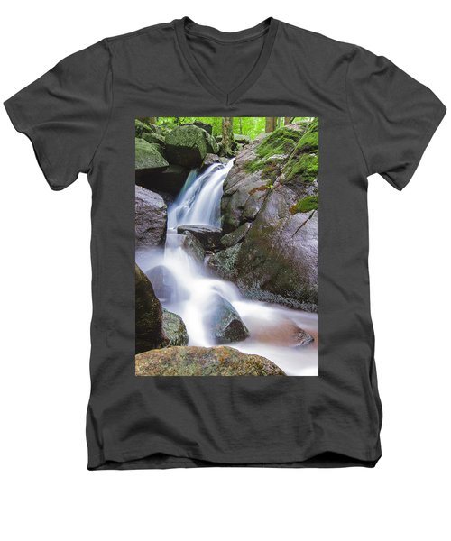 Waterfall Men's V-Neck T-Shirt by Eduard Moldoveanu