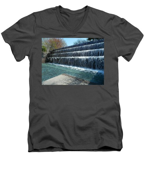 Men's V-Neck T-Shirt featuring the photograph Waterfall Heaven by Emmy Marie Vickers