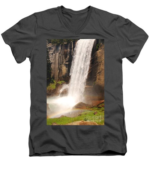 Men's V-Neck T-Shirt featuring the photograph Waterfall Rainbow by Mary Carol Story