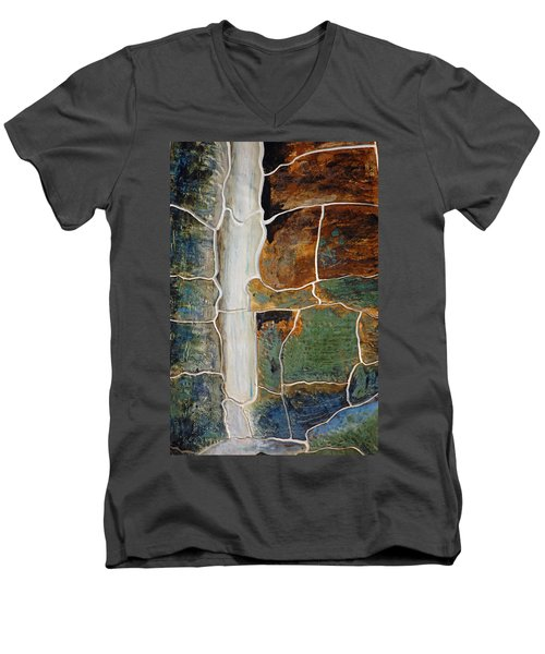 Waterfall Slate Men's V-Neck T-Shirt by Holly Blunkall
