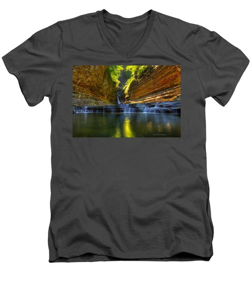 Waterfalls At Watkins Glen State Park Men's V-Neck T-Shirt