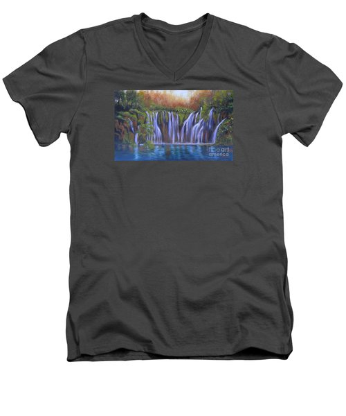 Men's V-Neck T-Shirt featuring the painting Waterfalls - Plitvice Lakes by Vesna Martinjak