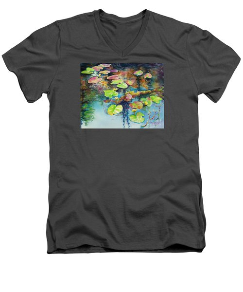 Waterlilies In Shadow Men's V-Neck T-Shirt by Kathy Braud