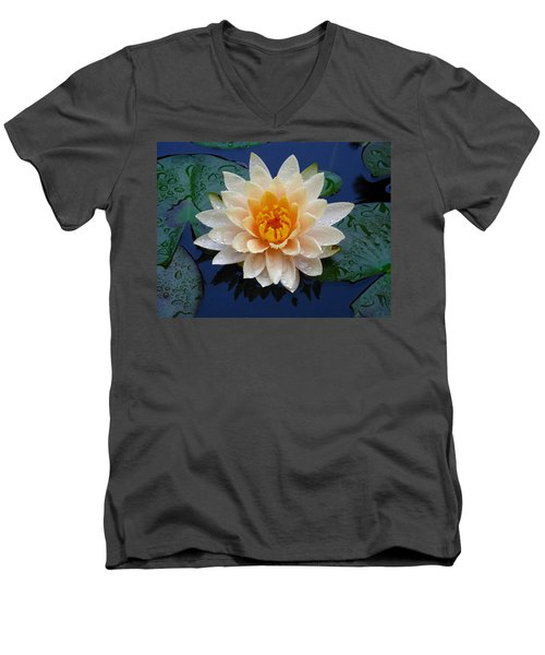 Men's V-Neck T-Shirt featuring the photograph Waterlily After A Shower by Raymond Salani III