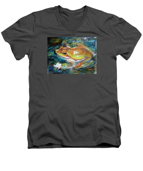 Men's V-Neck T-Shirt featuring the painting Waterlily And Frog by Jieming Wang