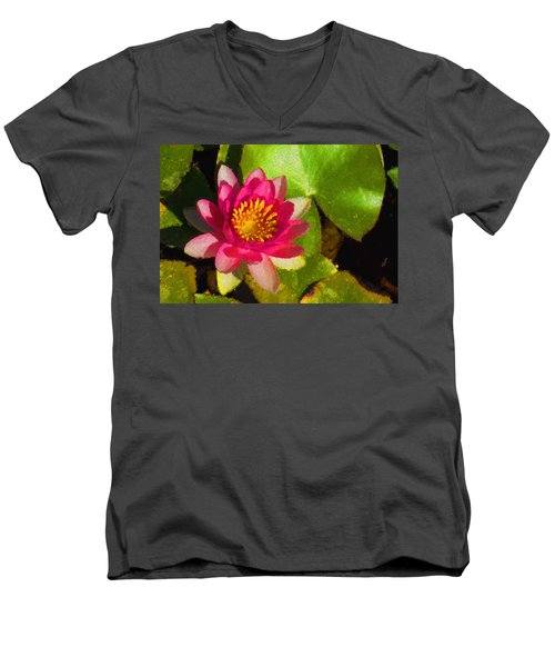 Waterlily Impression In Fuchsia And Pink Men's V-Neck T-Shirt