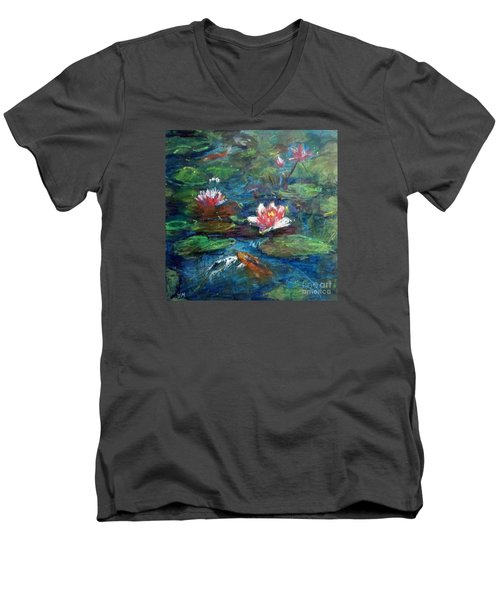 Men's V-Neck T-Shirt featuring the painting Waterlily In Water by Jieming Wang