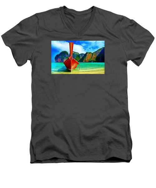 Watermarked-a Dreamy Version Collection Men's V-Neck T-Shirt