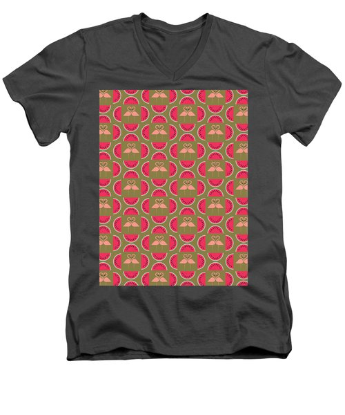 Watermelon Flamingo Print Men's V-Neck T-Shirt by Susan Claire