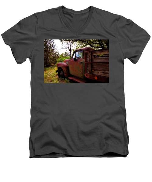 Watermelon Truck Men's V-Neck T-Shirt by Toni Hopper
