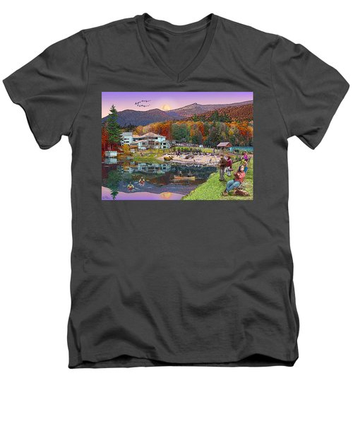 Waterville Estates In Autumn Men's V-Neck T-Shirt
