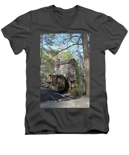 Men's V-Neck T-Shirt featuring the photograph Waterwheel At Stone Mountain by Gordon Elwell
