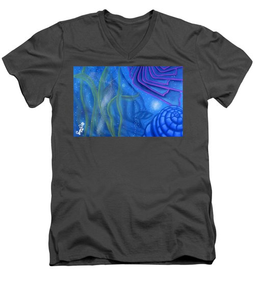 Men's V-Neck T-Shirt featuring the pastel Watery by Susan Will