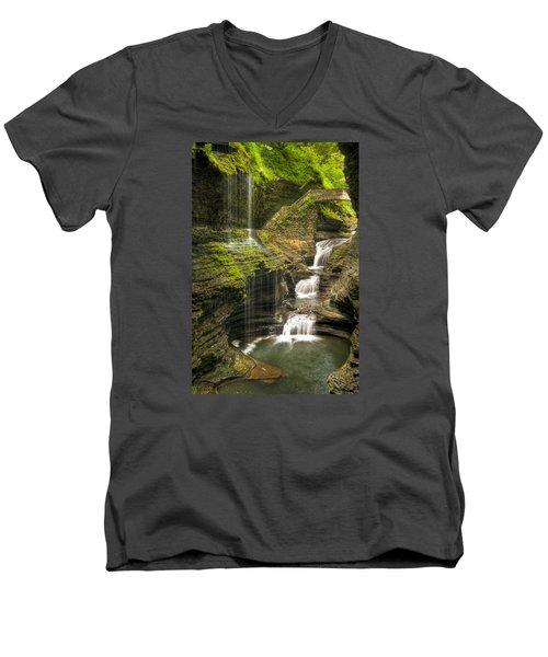 Watkins Glen Falls Men's V-Neck T-Shirt by Anthony Sacco