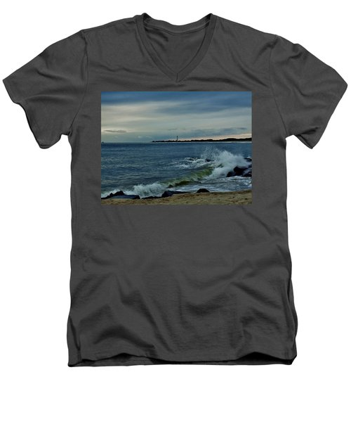 Wave Crashing At Cape May Cove Men's V-Neck T-Shirt by Ed Sweeney