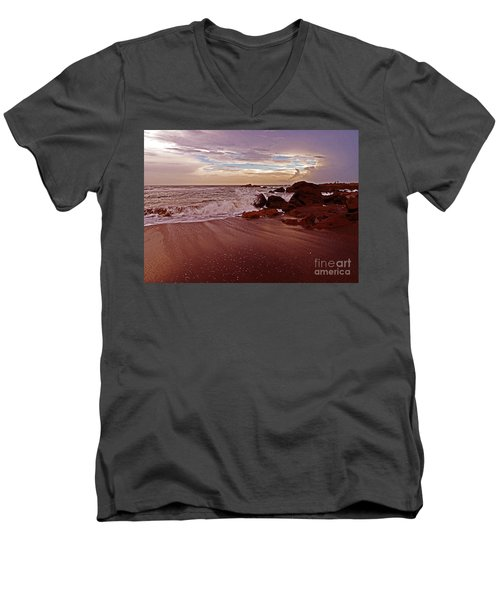 Waves Break Hands Shake Men's V-Neck T-Shirt by Lydia Holly