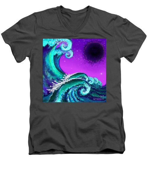 Waves Men's V-Neck T-Shirt by Carol Jacobs