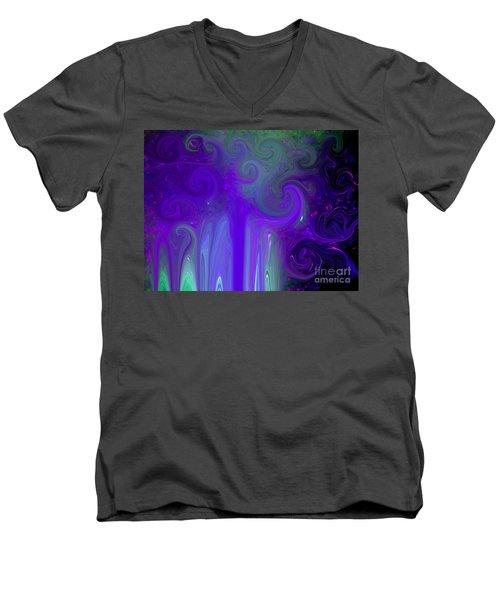 Waves Of Violet - Abstract Men's V-Neck T-Shirt by Susan Carella