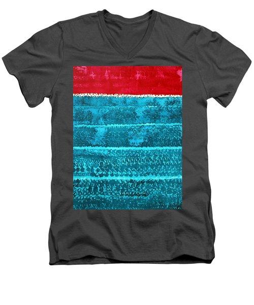 Waves Original Painting Men's V-Neck T-Shirt by Sol Luckman