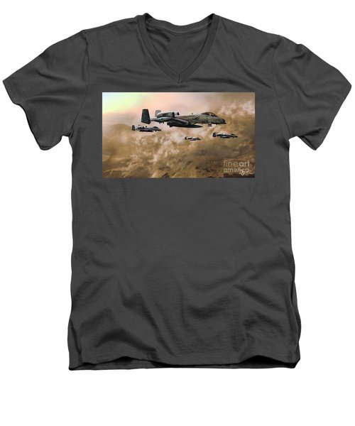 Men's V-Neck T-Shirt featuring the painting Waypoint Alpha - Outline by Dave Luebbert