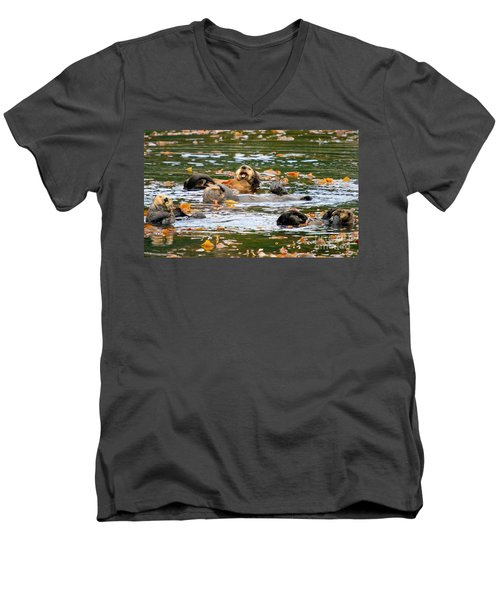 We Otter Be In Pictures Men's V-Neck T-Shirt by Bob Hislop