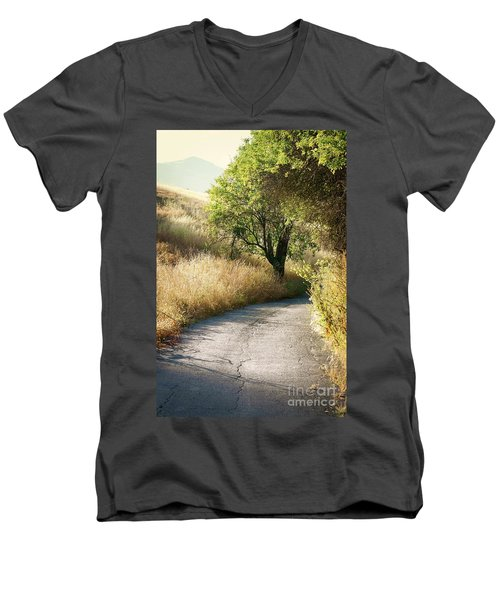 Men's V-Neck T-Shirt featuring the photograph We Will Walk This Path Together by Ellen Cotton