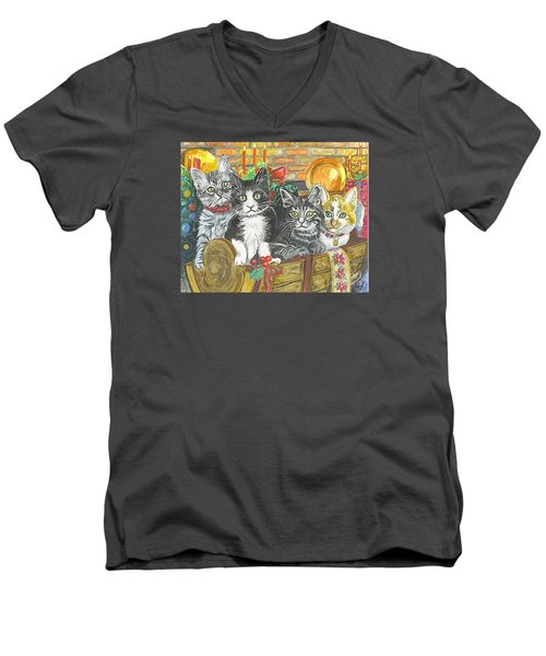 Men's V-Neck T-Shirt featuring the painting In Harmony by Carol Wisniewski