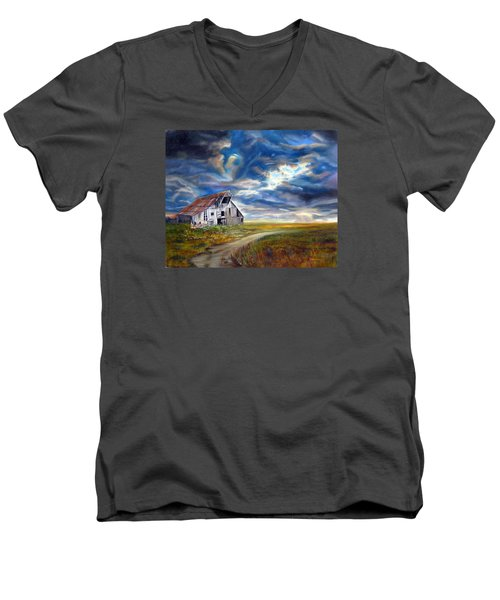 Weathered Barn Men's V-Neck T-Shirt by LaVonne Hand