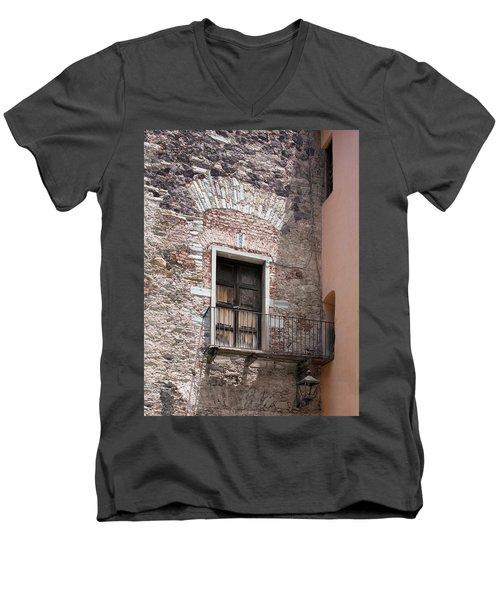 Weathered Wooden Church Doors Men's V-Neck T-Shirt by Lynn Palmer