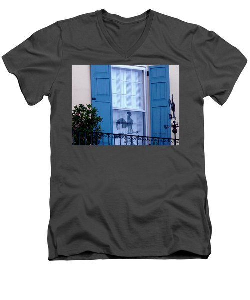 Men's V-Neck T-Shirt featuring the photograph Charleston Weathervane Reflection by Kathy Barney
