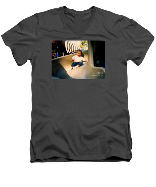Men's V-Neck T-Shirt featuring the photograph Weeeee by Kelly Awad
