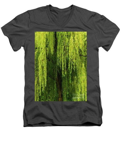Weeping Willow Tree Enchantment  Men's V-Neck T-Shirt by Carol F Austin