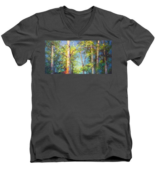 Welcome Home - Birch And Aspen Trees Men's V-Neck T-Shirt