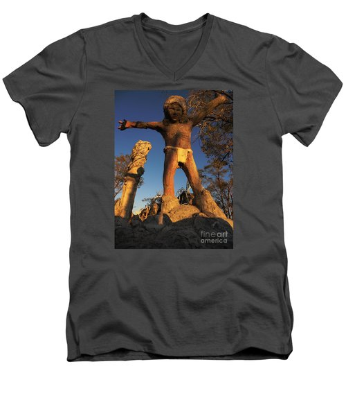 Welcome Men's V-Neck T-Shirt by Janice Westerberg