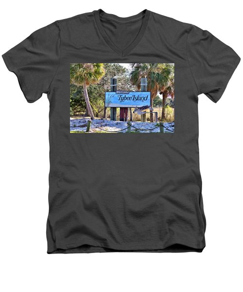 Welcome To Tybee Men's V-Neck T-Shirt by Gordon Elwell