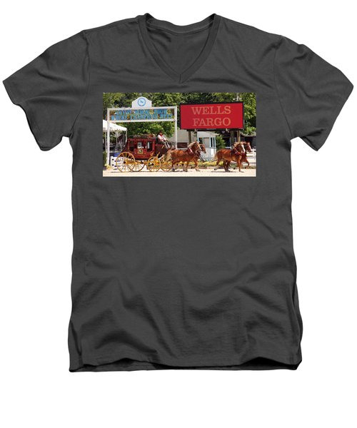Men's V-Neck T-Shirt featuring the photograph Wells Fargo At Devon by Alice Gipson