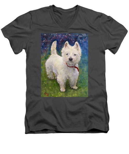 Men's V-Neck T-Shirt featuring the painting West Highland Terrier Holly by Richard James Digance
