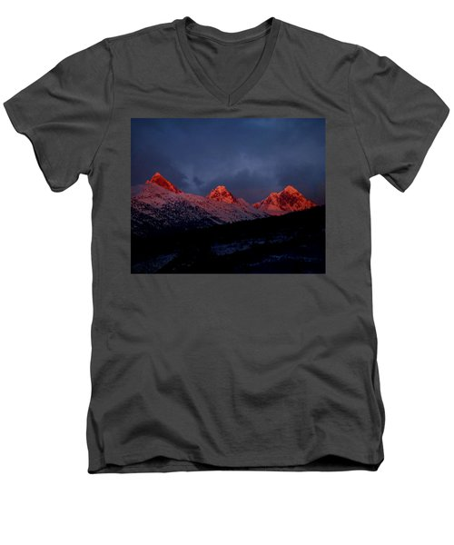 Men's V-Neck T-Shirt featuring the photograph West Side Teton Sunset by Raymond Salani III