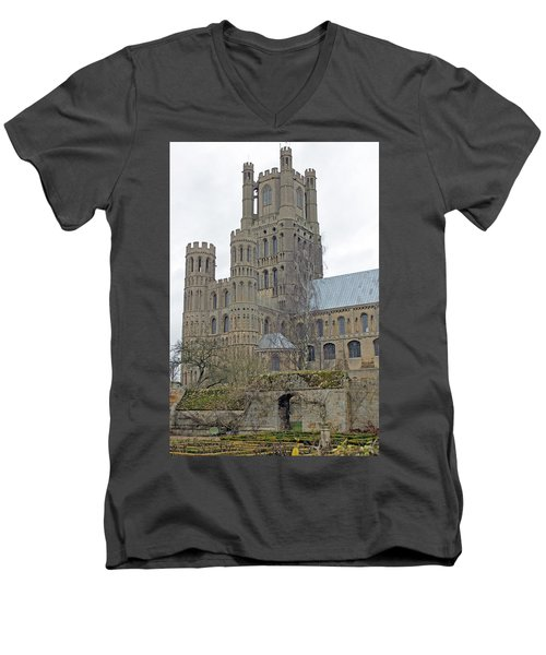 West Tower Of Ely Cathedral  Men's V-Neck T-Shirt by Tony Murtagh