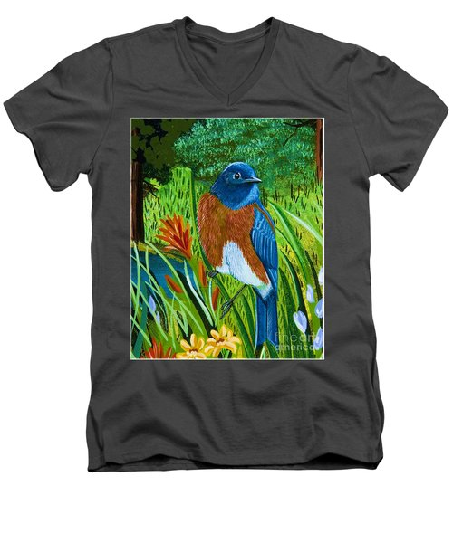Men's V-Neck T-Shirt featuring the painting Western Bluebird by Jennifer Lake