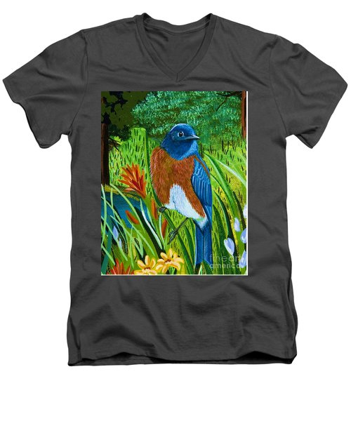 Western Bluebird Men's V-Neck T-Shirt