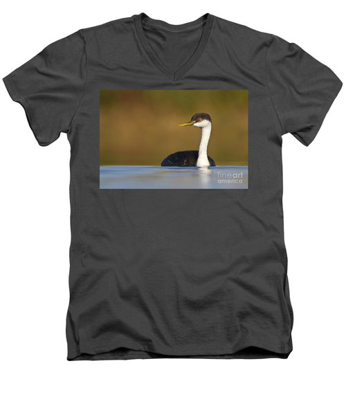 Men's V-Neck T-Shirt featuring the photograph Western Grebe On The Lake by Bryan Keil