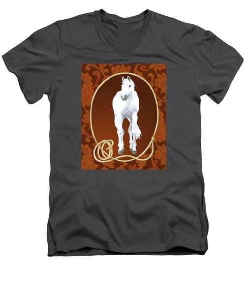 Western Roundup Standing Horse Men's V-Neck T-Shirt