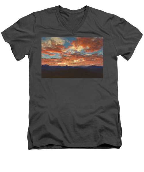 Men's V-Neck T-Shirt featuring the digital art Western Sunset by Mark Greenberg